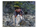 Girl at a Forest Brook. (Charlotte Corinth), 1913 Giclee Print by Lovis Corinth