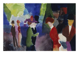 People, Coming across Each Other, 1913 Giclee Print by August Macke