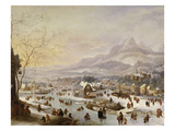 An Extensive River Landscape, with Numerous Figures Skating Outside a Town Giclée-tryk af Robert Griffier