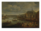 View of Paris with St. Michael and Notre Dame Giclee Print by Pieter de Spierinckx