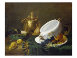 Stilleben Mit Messingkanne, Suppenterrine Und Obst Giclee Print by Antoine Vollon