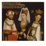 Louis Ii (1229- 1294), Duke of Bavaria with His Wifes Mary of Brabant and Anna of Glogau Giclée-tryk af German School