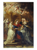 St. Ildefonso Altarpiece, Central Panel Depicting Virgin Mary Presenting a Liturgical Robe Giclee Print by Peter Paul Rubens