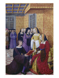 From: Le Voyage De Genes (Voyage to Genoa): Poet Jean Marot Hands over His Work to Anne of Brittany Giclee Print by Jean Bourdichon