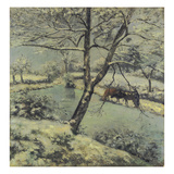 Winter at Montfoucault with Snow, 1875 Giclee Print by Camille Pissarro