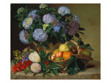 Hydrangea in a Jug and a Basket with Oranges, Lemons and Figs, 1834 Giclee Print by Johan Laurentz Jensen