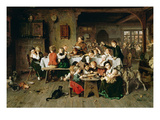 Ein Kinderfest (Der Katzentisch) 1868 Reproduction proc&#233;d&#233; gicl&#233;e par Ludwig Knaus