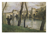 The Bridge at Mantes Posters by Jean-Baptiste-Camille Corot