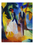 People at the Blue Lake (Leute Am Blauen See), 1913 Giclée-tryk af Auguste Macke