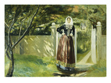Frau in Daenischer Tracht Am Gartentor, 1902 Reproduction proc&#233;d&#233; gicl&#233;e par Michael Peter Ancher