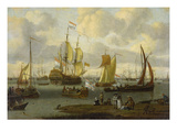 Poeple Walking at the Banks of the River Ij with Ships, 1693 Art by Abraham Storck