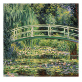 Bruecke in Monets Garten Mit Weissen Seerosen, 1899 Prints by Claude Monet