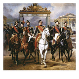 Louis Philippe Und Seine Soehne Zu Pferde Beim Verlassen Von Schloss Versailles Poster von Horace Vernet
