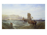 Fishing Boats Near a Cliff Line, 1888 Giclee Print by Edwin Hayes