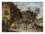 A Wedding Feast in the Courtyard of a Village Inn Prints by Jan van Kessel