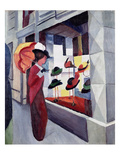 Woman with Parasol in Front of a Hat Shop, 1914 Giclée-tryk af Auguste Macke