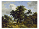 Village Street under Trees, about 1665 Giclee Print by Meindert Hobbema