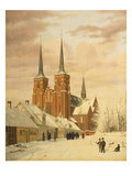 Winterszene in Roskilde Mit Dem Dom Giclee Print by Jorgan Roed