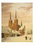 Winterszene in Roskilde Mit Dem Dom Giclee Print by Jorgan Roed