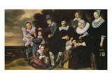 Portrait of a 12-Member Family Print by Frans Hals