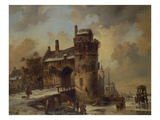 Winter Landscape with an Old City Gate, 1844 Giclee Print by Jan Ruyten