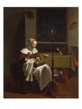 Woman Doing Needlework by Candlelight Giclee Print by Ludolf de Jonge
