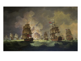 Nighttime Naval Battle Near St. Vincent (On January 16Th, 1780) Posters by Thomas Luny