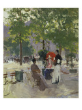 Pavement Café in Paris Print by Konstantin A. Korovin
