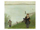 Fishermen at the Rhine River, 1905 Giclee Print by August Macke