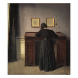 A Lady Writing at Her Desk Giclee Print by Vilhelm Hammershoi
