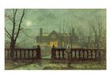 Garden in the Evening with View of an Illuminated House Art par John Atkinson Grimshaw