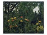 Urwald Mit Tiger Und Jaegern, um 1907 Giclée-trykk av Henri Rousseau