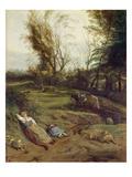 Viehweide Mit Schlafender Frau Giclee Print by Jan Siberechts