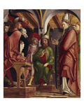 The Fathers of the Church Altarpiece. Left Wing: Disputation of St. Augustine, ca. 1480 Giclee Print by Michael Pacher