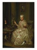 Elisabeth Augusta in Ihrem Kabinett Giclee Print by Johann Georg Ziesenis