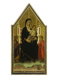 The Madonna and Child Enthroned with Saints Bartholomew and Ansanus and a Small Donor Giclee Print by Segna di Buonaventura