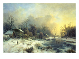 Winter Landscape with Frozen Pond, about 1850 Giclee Print by August Piepenhagen