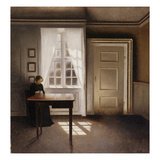 Woman Doing Needle-Work by the Window Prints by Vilhelm Hammershoi