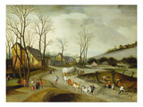 Winter Landscape with Caravan and Peasants Cutting Trees Giclee Print by Abel Grimmer