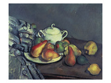 Still Life with Sugar Can, Pears and Tablecloth Giclee Print by Paul Cézanne