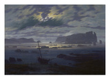 Moonlit Seascape Print by Caspar David Friedrich