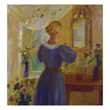 An Interior with a Woman Looking in a Mirror, 1900 Gicléetryck av Michael Peter Ancher