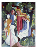 Four Girls, about 1912/13 Giclee Print by Auguste Macke