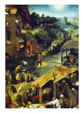 Netherlandish Proverbs (Detail Top Right), 1559 Giclee Print by Pieter Bruegel the Elder