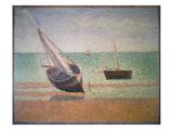 Boote Bei Ebbe Am Strand Von Grandcamp, 1885 Gicléedruk van Georges Seurat