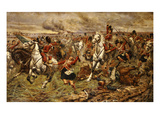 Gordons and Greys to the Front! Incident at Waterloo Lámina giclée por Stanley Berkeley
