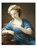A Young Woman in Turkish Costume Seated Playing with a Cage-Bird, 1766 Giclée-Druck von Joseph Marie Vien