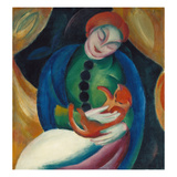 Girl with a Cat Ii., 1912 Impression giclée par Franz Marc