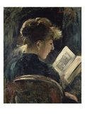 Young Woman Reading, 1888 Giclee Print by Lovis Corinth