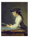 The Young Draughtsman, 1737 Art by Jean-Baptiste Simeon Chardin